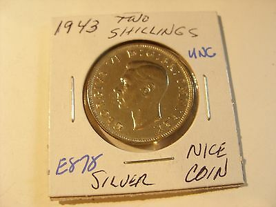 Very nice 1943 Silver Beauty Two Shilling  Check out the pictures (E878)