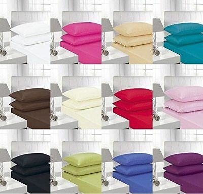 New Plain Dyed Luxury Polycotton Fitted sheet OR Pillow Pair All Sizes
