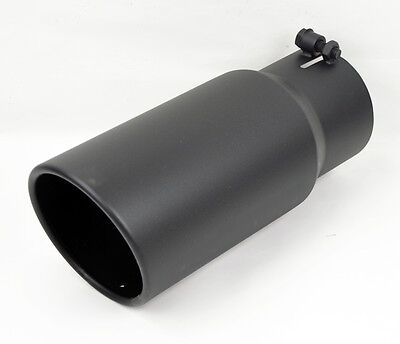 """Stainless Black Rolled Edge Angle Diesel 5"""" Exhaust Tip 4"""" Inlet 12"""" Long HD"""