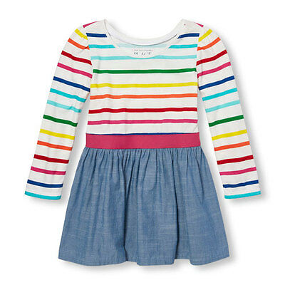 TCP 2T Toddler Girls Rainbow Stripe Chambray Dress NWT Summer 24 18 PARTY 2