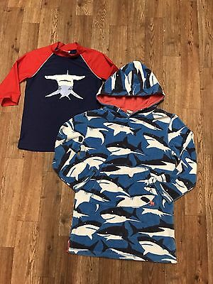 Boys Size 7/8 - MINI BODEN - Shark Rash guard Shirt & Terry Beachwear