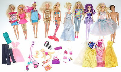 Lot of 10 MATTEL Barbie Dolls with Accessories