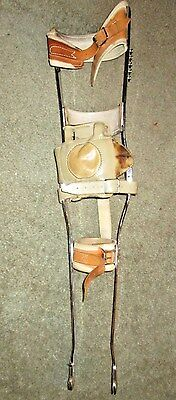 Vintage Metal & Leather Polio Leg Brace, Maybe Teen Sized, Steam Punk ,  As Is
