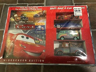 Disney Pixar Cars 2006 DVD and 4 Car Gift Set ***Rare/New/Sealed***