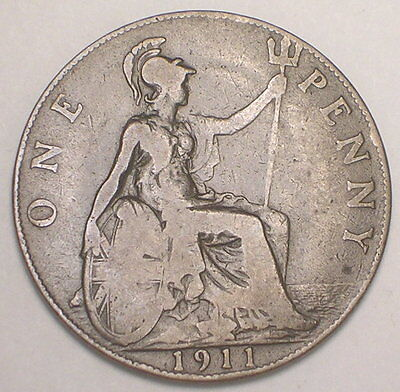 1911 UK Great Britain British One 1 King George V Penny Coin F