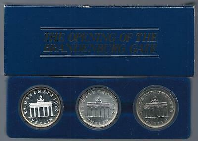 GERMANY - DDR - 1990 20 Mark 3pc set - BRANDENBURG GATE c/n BU - silver BU & PRF