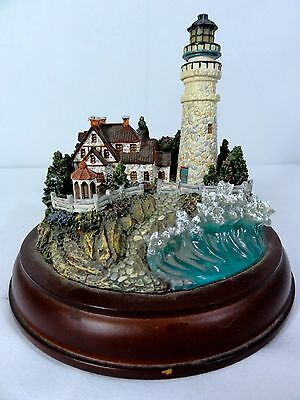 """Hawthorne """" Clearing Storms """" Lighted Lighthouse - Thomas Kinkade - Works"""