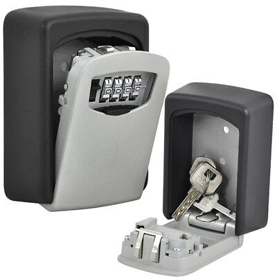 Outdoor Security Wall Mounted Safe Key Lock Box 4 Digit Combination Home Car Key