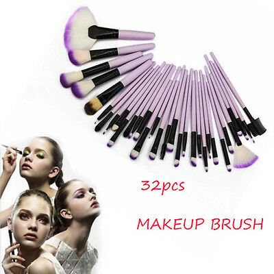 32pc Purple Professional Soft Cosmetic Eyebrow Shadow Makeup Brush Set & Bag *