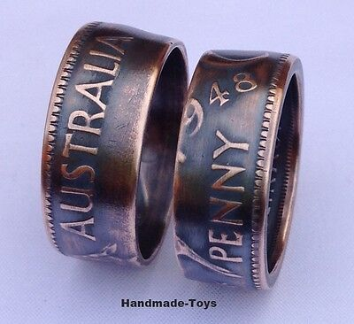 Australian Penny Handmade to Coin Ring - Antique Finished