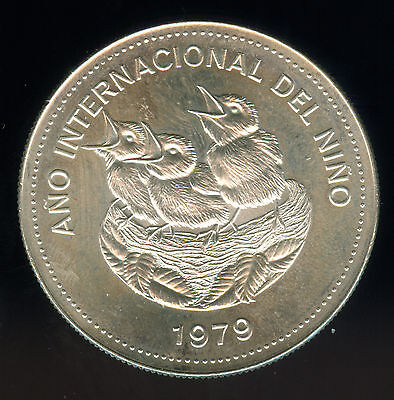 1979 Costa Rica Year Of The Child Silver 100 Colones Unc.