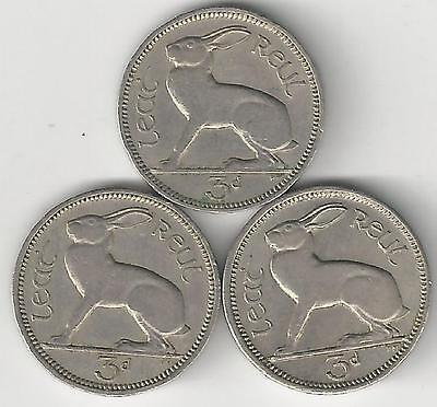 3 DIFFERENT 3 PENCE COINS w/ RABBIT from IRELAND (1962, 1963 & 1968)