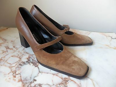 Vintage Classic Italian 'BALLY' Shoes In Camel Colour Suede & Leather Size 3
