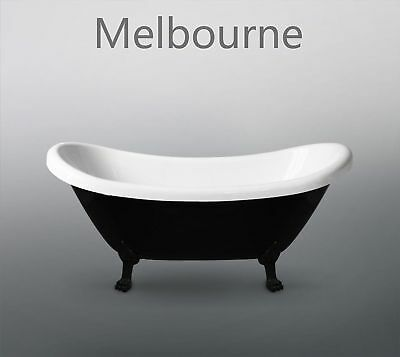 Melbourne Classic Claw Foot Black & White 1700x740x760mm Freestanding Bath Tub 7