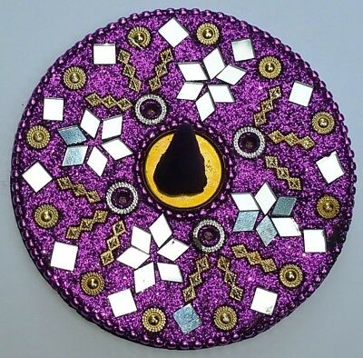 Enamel Beaded Mirrored Incense Cone Holder 8 cm round Purple Bliss