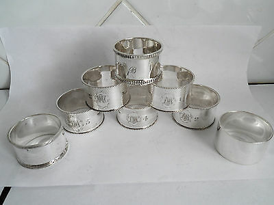 Silver Plated Antique 8 Napkin Rings -  Set Of 5 Plus 3 Others  - With Initials