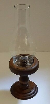 """Vintage Candle Holder  Wood Base  Glass Flue  Approx 14"""" tall x 5"""""""
