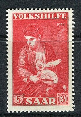 GERMANY SAAR;  1954 early Volkshilfe Charity issue Mint hinged 5Fr. value