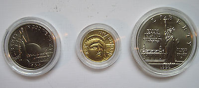 1986 3 Coin Liberty Commemorative Set - Gold, Silver and Clad - Uncirculated