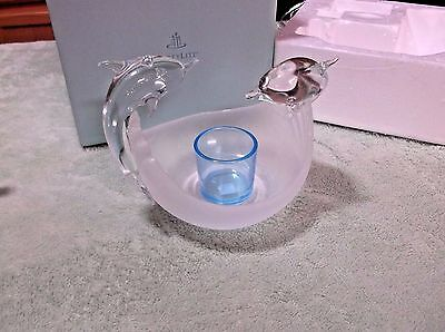 PartyLite Clear/Frosted Glass Jumping Dolphins & Blue Votive  Used as Display