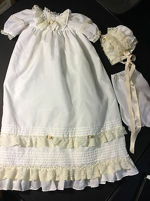 Christening Cap And Gown Dress For A Baby Doll Reborn 20""