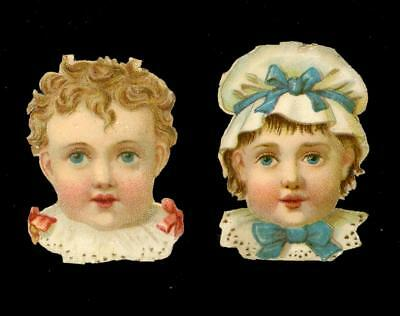 Pair Baby Boy And Girl Victorian Die Cut Scrap