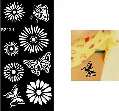 FLowers Butterflys fHand Arm Tattoo Stencil Henna Art Temporary Tattoo Airbrush
