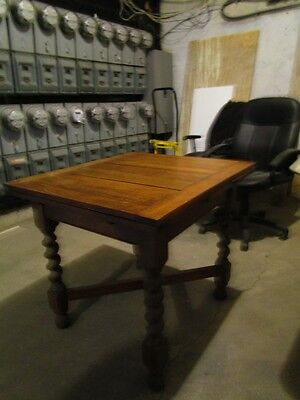 Antique French Oak Barley Twist Rectangular Extendable Dining or SideTable c1870
