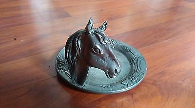 Small Etan Fin pewter plate with horses head. No Reserve!