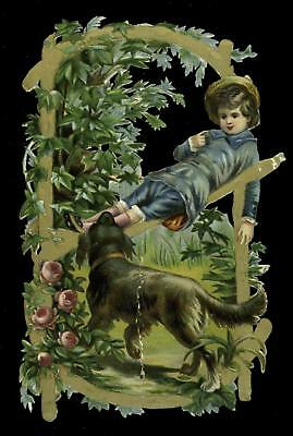 "2 1/4"" x 4"" A Boy And His Dog Victorian Die Cut Scrap"