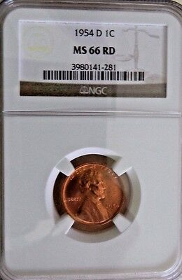 Lincoln Cent 1954-D NGC MS 66 RD