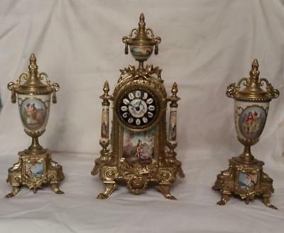 French Japy Freres Mantle Clock Garniture Set With Key + Pendulum (42 cm high)