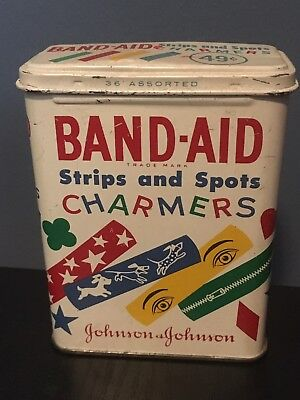 RARE Vintage Johnson & Johnson BAND-AID Tin, Strips and spots Charmers tin
