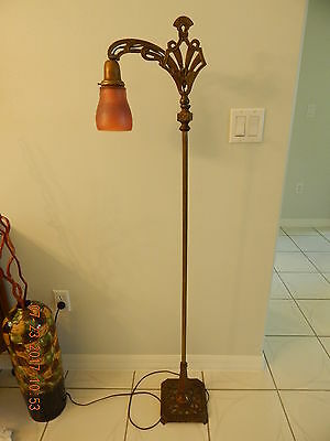 Antique Art Deco Brass Floor Lamp With Carnival Glass Shade