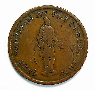 """Lot of 6 1837 Lower Canada """"Habitant"""" One Penny Tokens #99187 R"""