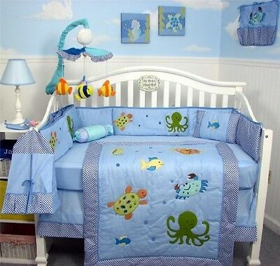 BLUE CRIB BEDDING SET OCEAN LIFE Infant Baby Boy Nursery 13 Pc Quilt Sheets+ NEW