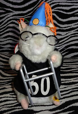 50 Sucks!!! Gemmy Dancing & Singing Hamster W/ Walker- Glasses- 50 Shirt & Tag!