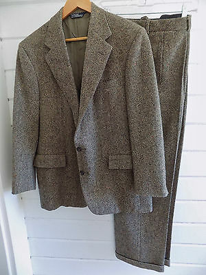 VINTAGE POLO RALPH LAUREN brown TWEED WOOL SUIT MADE IN USA Union Tag -42R 36W
