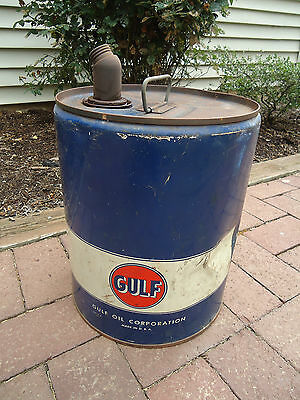 Vintage GULF OIL 5 Five Gallon Metal Oil Can VINTAGE ANTIQUE OIL GAS Advertising