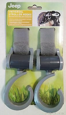 Jeep Universal Stroller Hooks, 360 Degree Swiveling Hooks, Pack of 2, Grey