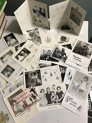 1950s Christmas Photo Card Lot Of 29 MANY Family Xmas Photos Vintage