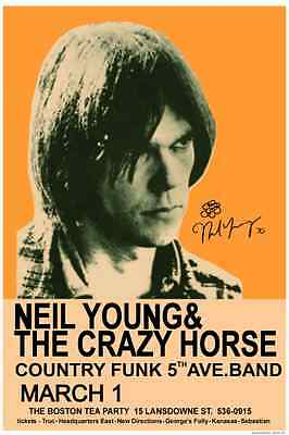 Neil Young 1970 Boston CONCERT POSTER with signature!