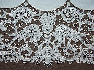 Antique French Schiffli Lace Figural Angels/Vtg Linen Doily Table Runner