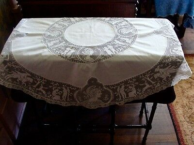 "ANTIQUE FILET CROCHET TEA TABLECLOTH FIGURAL WHITE 39"" ROUND Goddess Stag Horse"