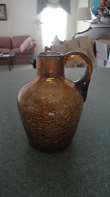 """brown crackle glass mini pitcher jug & brown applied handle approx 3.75"""""""