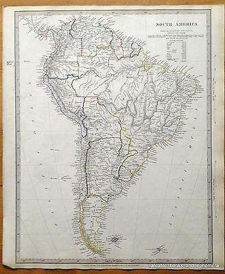 Antique Map South America 1842 Continent Brazil Falklands Galapagos Andes