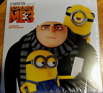 "2018 ""Despicable Me 3"" Wall Calendar - BRAND NEW/FACTORY SEALED - FREE US S/H"