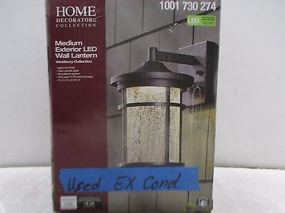 Aged Iron Outdoor LED Wall Lantern with Crackle Glass (GOOD COND; 444-19S