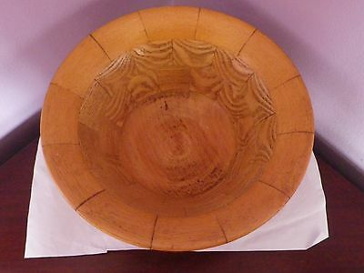 Fab Vintage Rustic Turned Wooden Bowl Made Of Pieces Stuck Together 22.5 Cms Dia