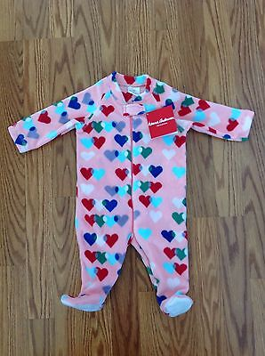 NWT Hanna Andersson 60 3-6 Month Pink Fleece Footed Sleeper bodysuit girls New!